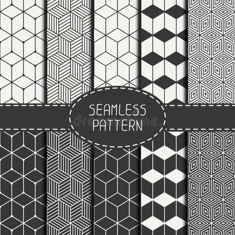Uppsättning av den geometriska abstrakta sömlösa kubmodellen stock illustrationer