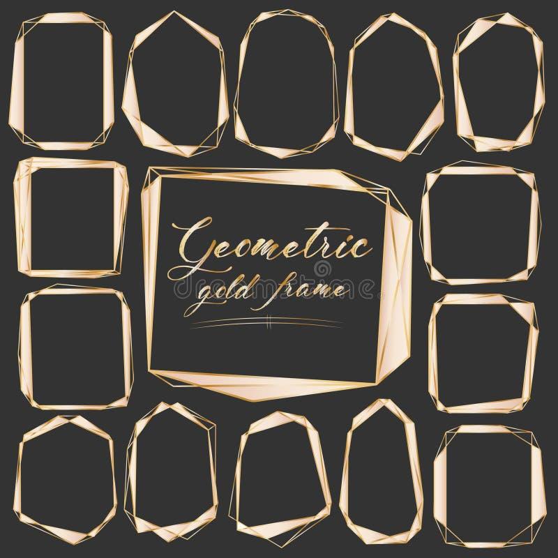 Uppsättning av den geometriska guld- ramen, dekorativ beståndsdel för bröllopkort, inbjudningar och logo royaltyfri illustrationer