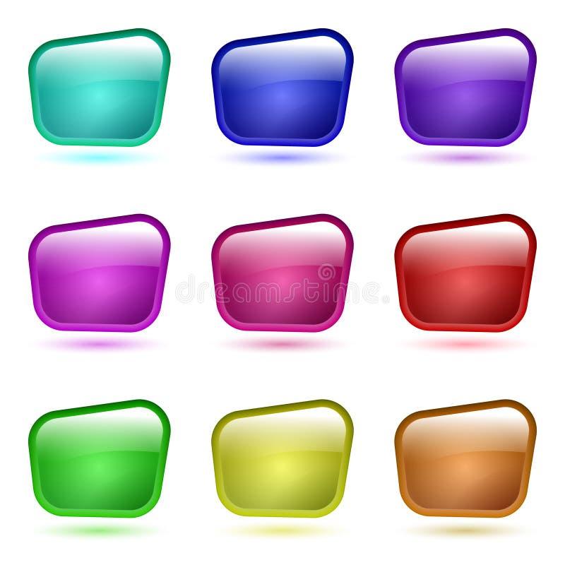 Uppsättning av den glass knappen 3d royaltyfri illustrationer
