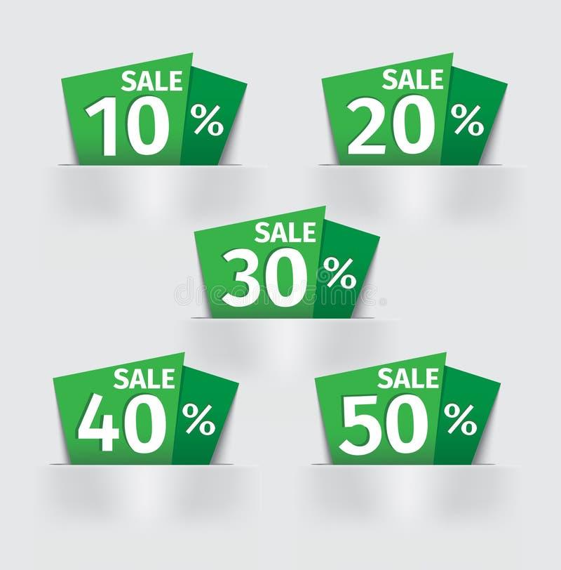 Uppsättning av den gröna prislappen för Sale procentklistermärke royaltyfri illustrationer