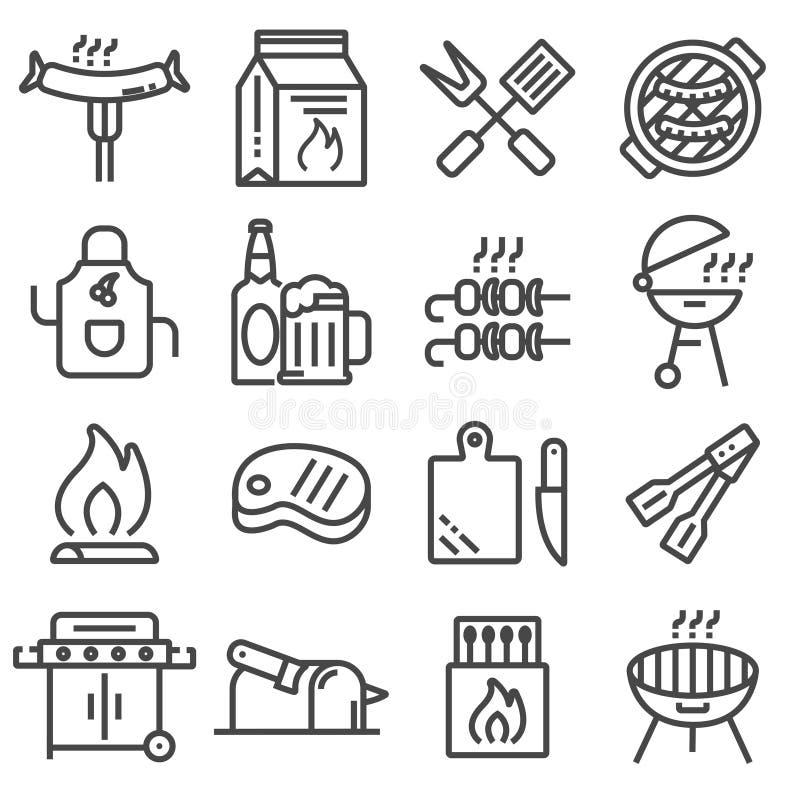 Uppsättning av den grillfest släkta linjen symboler vektor illustrationer