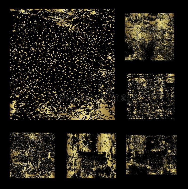 Uppsättning av den guld- grungebakgrundsvektorn vektor illustrationer