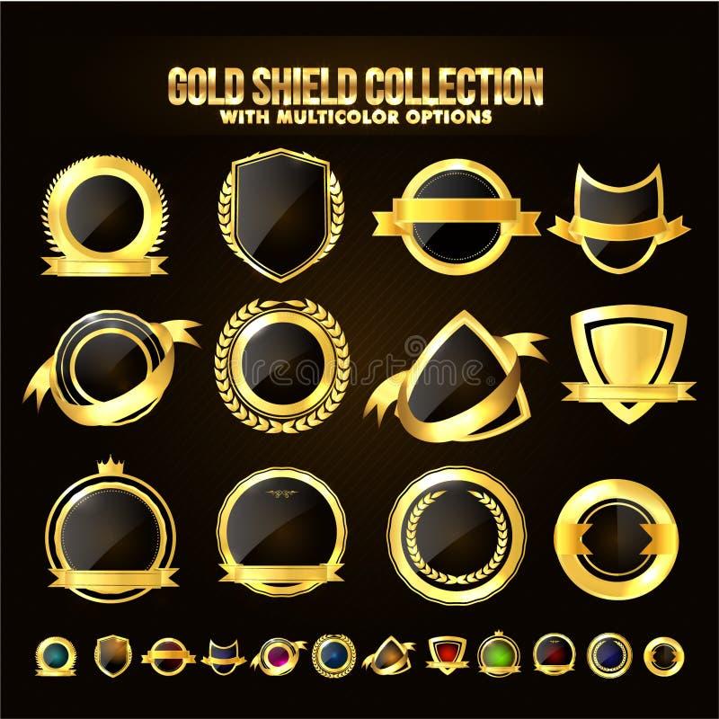 Uppsättning av den guld- skölden, klistermärkear, etiketter, band stock illustrationer