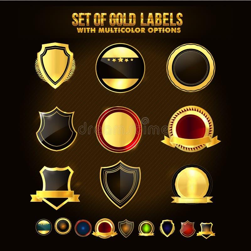 Uppsättning av den guld- skölden, klistermärkear, etiketter, band royaltyfri illustrationer