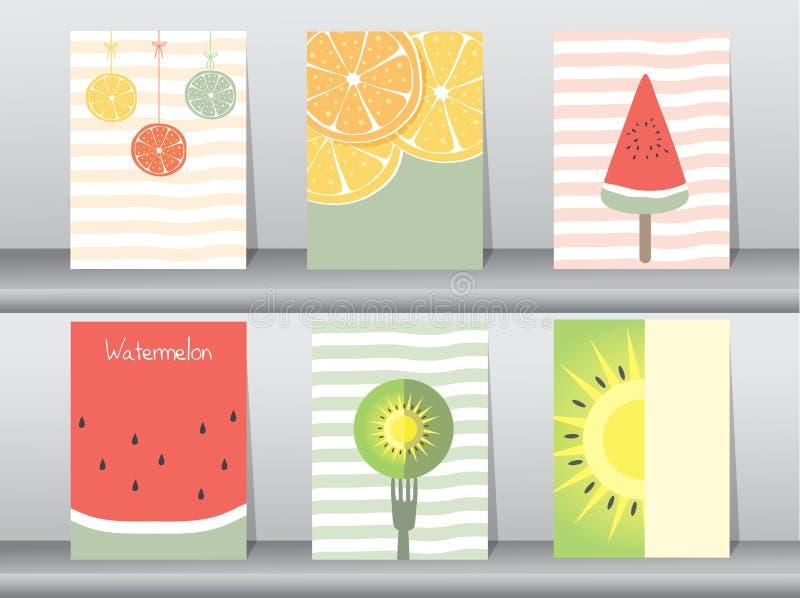 Uppsättning av den gulliga fruktaffischen stock illustrationer