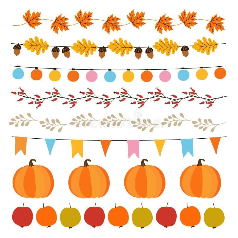 Uppsättning av den gulliga hösten, nedgånggirlander med ljus, flaggor, ekollonar, sidor, pumpor, äpplen och rosa höfter Garnering vektor illustrationer