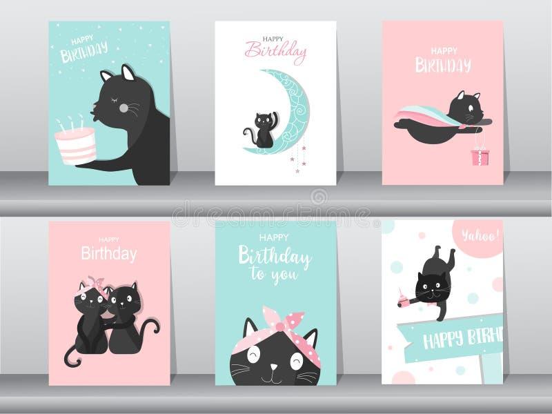 Uppsättning av den gulliga katten på födelsedagbakgrunder Design för ungekort, vektorillustrationer stock illustrationer