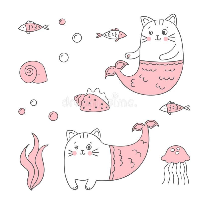 Uppsättning av den gulliga kattsjöjungfrun, skal, fisk royaltyfri illustrationer
