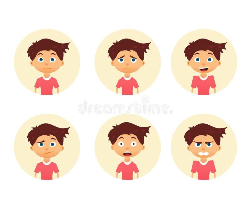 Uppsättning av den gulliga pojken för sinnesrörelse Roligt vända mot Vektorillustration av en plan design stock illustrationer