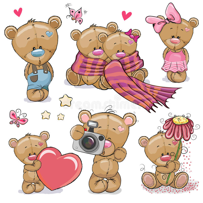 Uppsättning av den gulliga tecknade filmen Teddy Bear