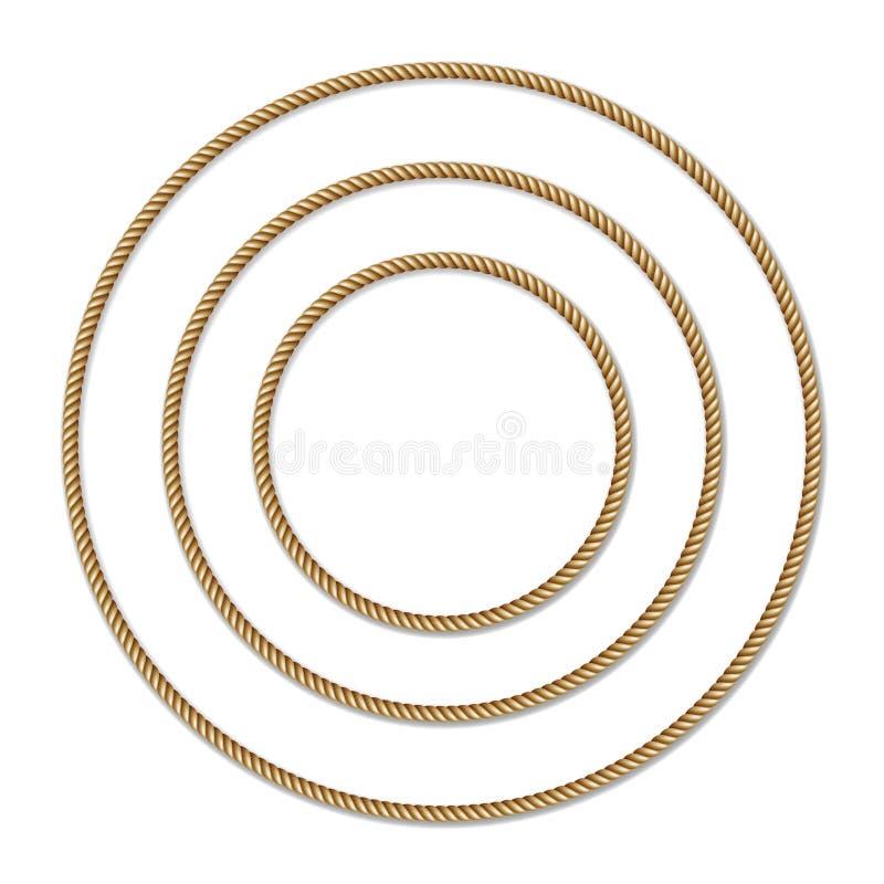 Uppsättning av den gult rep vävde cirkelvektorgränsen, cirkelvektorram stock illustrationer
