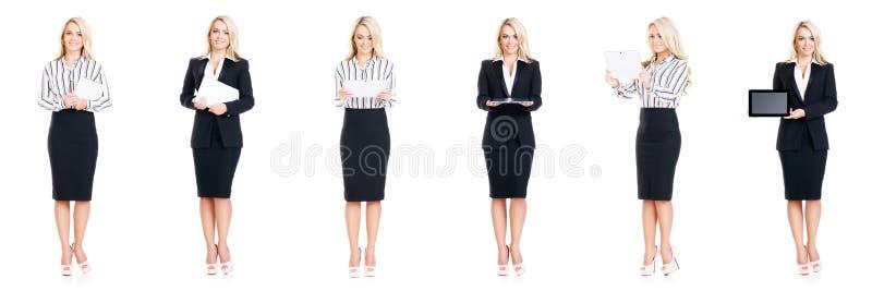 Uppsättning av den härliga attraktiva affärskvinnan som isoleras på vit Affär karriärframgångbegrepp royaltyfria foton