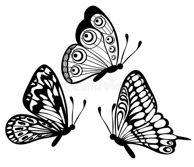 Uppsättning av den svartvita fjärilen vektor illustrationer