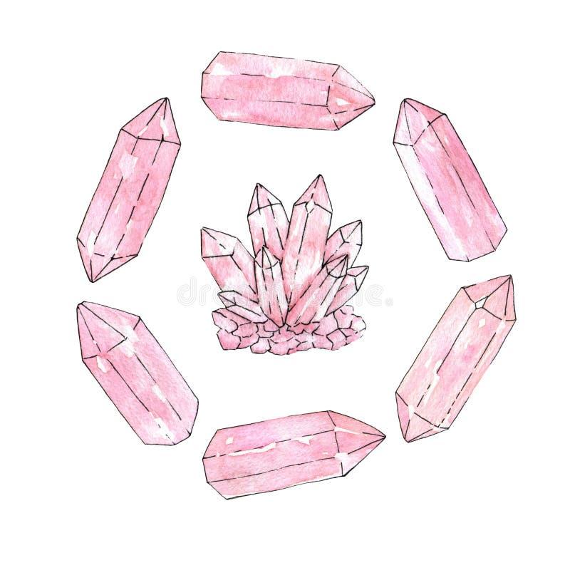 Uppsättning av den hand målade vattenfärgen och kristaller och klungan för färgpulver rosa vektor illustrationer