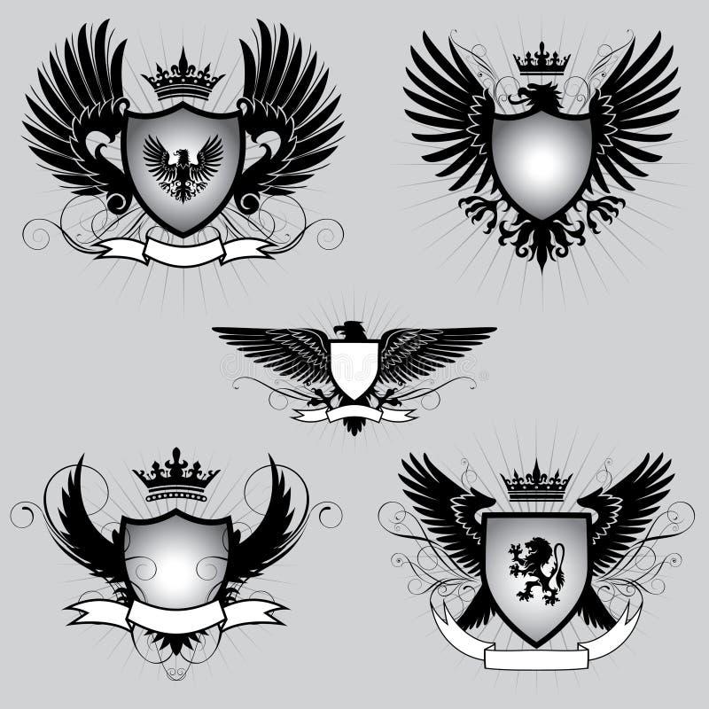 Uppsättning av den heraldik påskyndade skölden vektor illustrationer