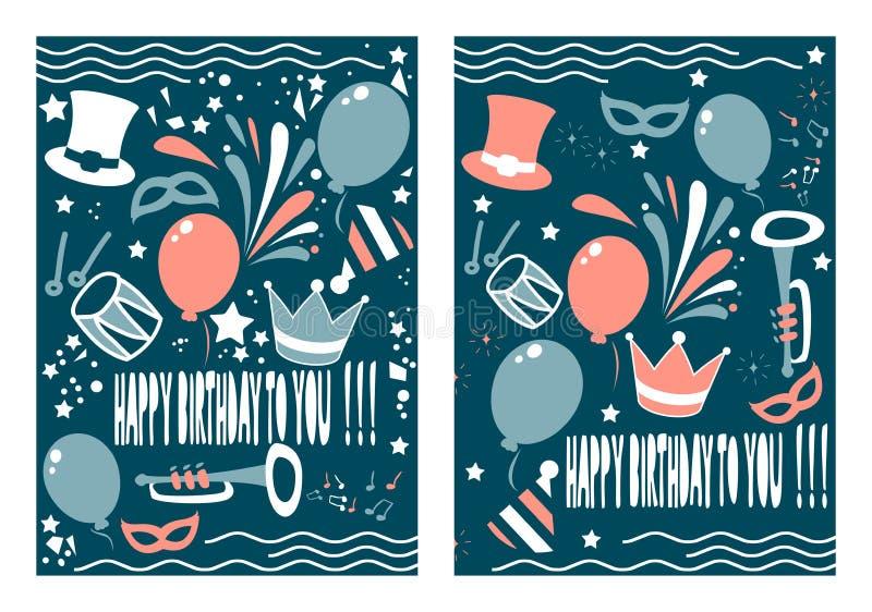Uppsättning av den idérika designen för födelsedaghälsningkort vektor illustrationer