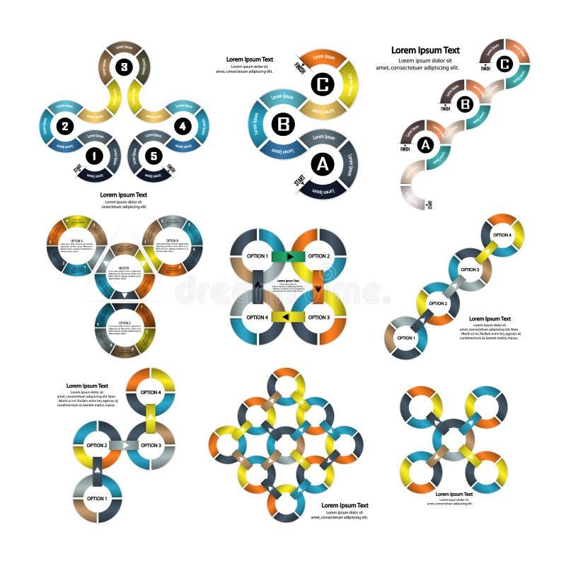 Uppsättning av den infographic affärspresentationsmallen Powerpointtem royaltyfri illustrationer