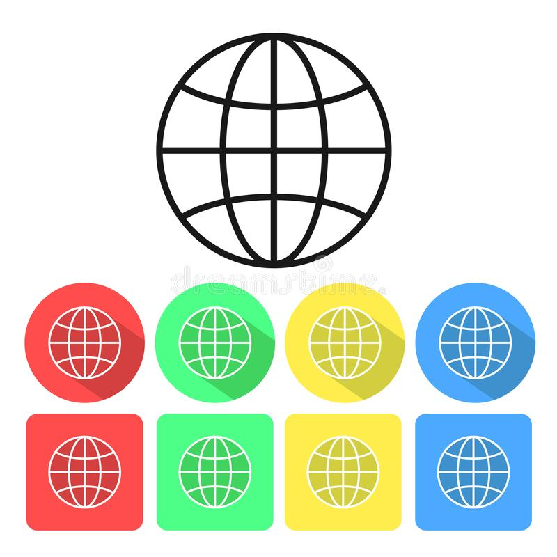 Uppsättning av den internationella jordklotlinjen konstsymbol för apps och websites, stock illustrationer
