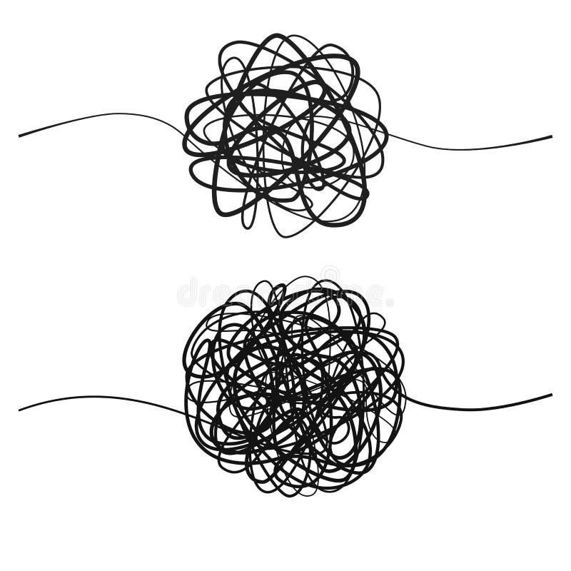 Uppsättning av den invecklade svarta linjen väg Hand dragen tova av den tilltrasslade tråden Skissa sfäriskt abstrakt begrepp klo vektor illustrationer