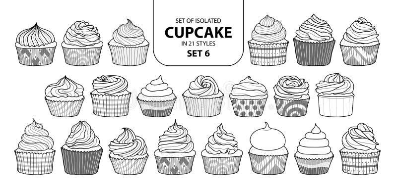 Uppsättning av den isolerade muffin i uppsättning 6 för 21 stilar royaltyfri illustrationer