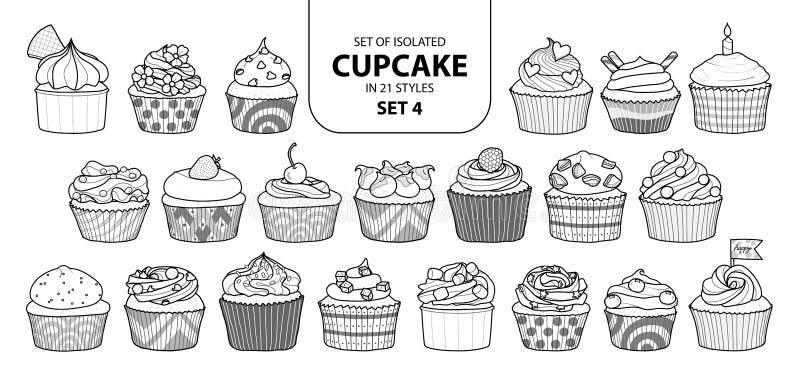 Uppsättning av den isolerade muffin i uppsättning 4 för 21 stilar stock illustrationer