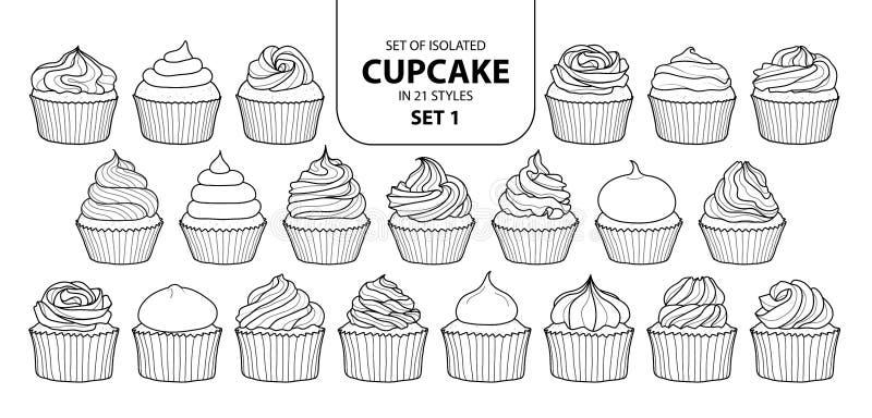 Uppsättning av den isolerade muffin i uppsättning 1 för 21 stilar stock illustrationer