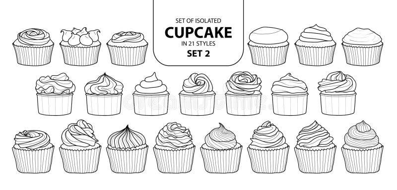 Uppsättning av den isolerade muffin i uppsättning 2 för 21 stilar vektor illustrationer