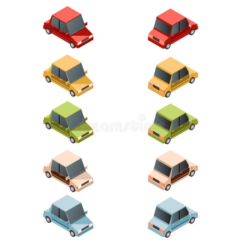 Uppsättning av den isometriska bilen icons2 stock illustrationer
