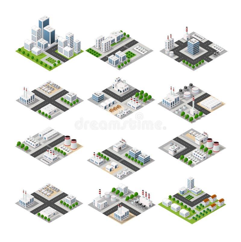 Uppsättning av den isometriska staden royaltyfri illustrationer
