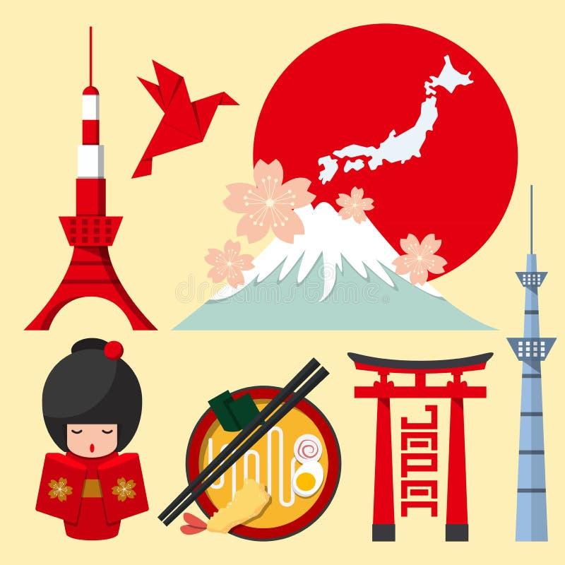 Uppsättning av den Japan symbolen i plan design stock illustrationer