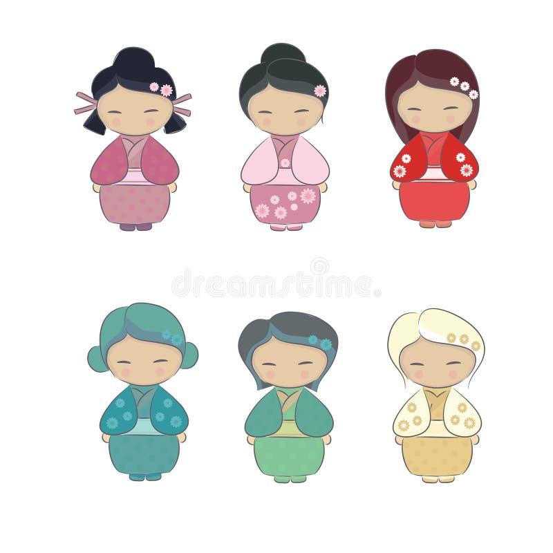 Uppsättning av den japanska flickan i kimono stock illustrationer