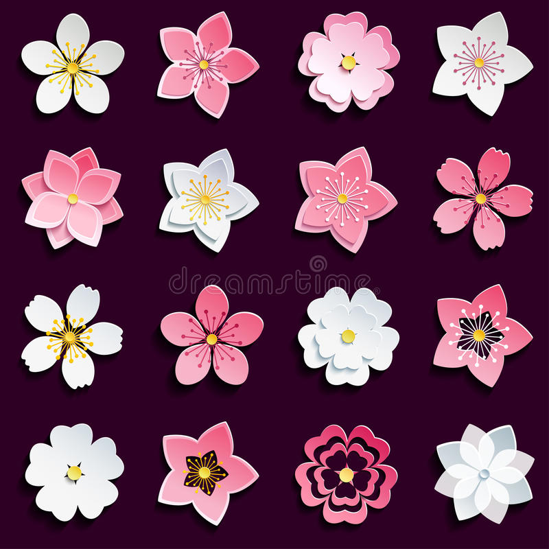 Uppsättning av den körsbärsröda blomningen, sakura blommor stock illustrationer