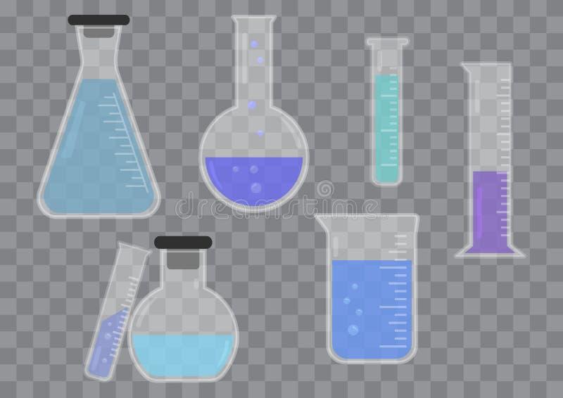 Uppsättning av den kemiska flaskan för exponeringsglas med kulör flytande vektor royaltyfri illustrationer