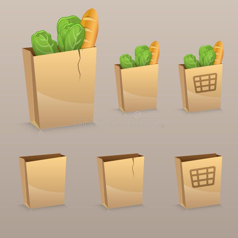Uppsättning av den kraft packen med produkter, isolerad korg stock illustrationer