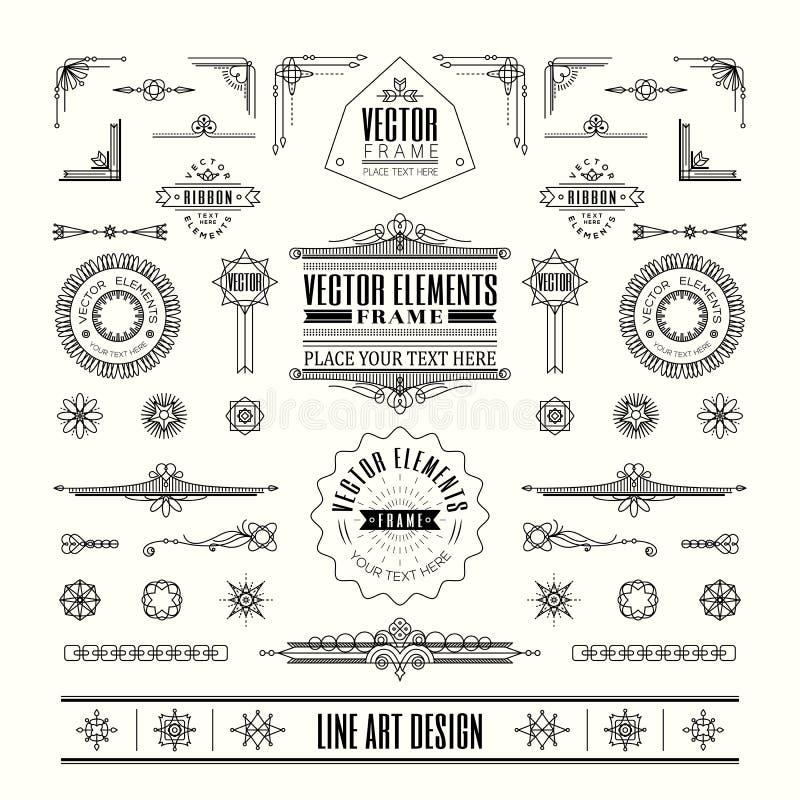 Uppsättning av den linjära tunna linjen för tappningdesign för art déco retro beståndsdelar royaltyfri illustrationer