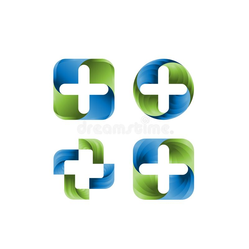 Uppsättning av den medicinska mallen för apoteklogodesign Idérikt medicinskt begrepp Logo Design Template Vektorlogomall stock illustrationer