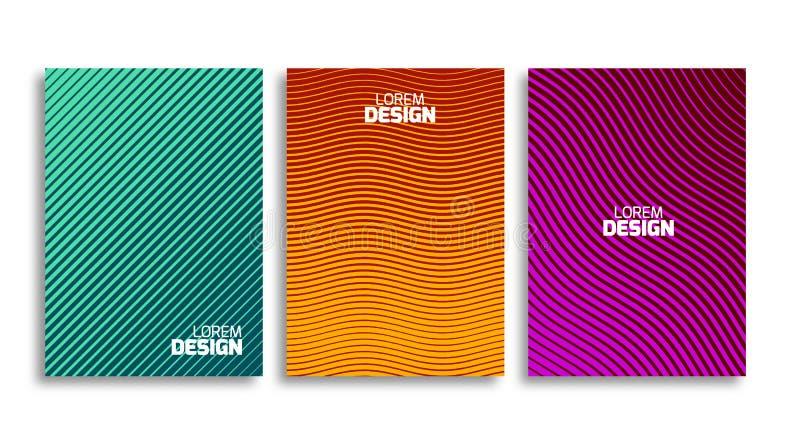Uppsättning av den minsta räkningsdesignmallen Geometrisk bakgrund för bok eller för reklamblad Ljus modell för företags identite royaltyfri illustrationer