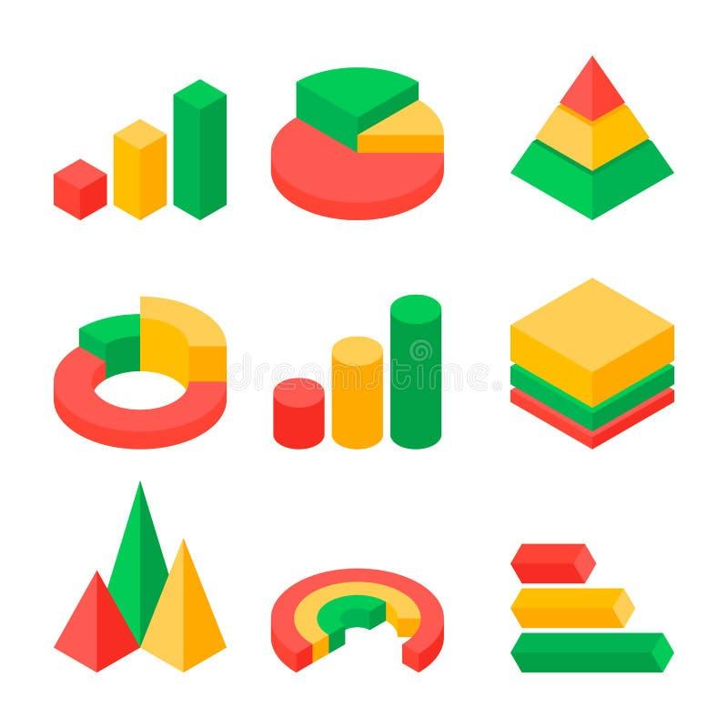 Uppsättning av den moderna affärsgrafen och den isometriska symbolen för diagram vektor illustrationer