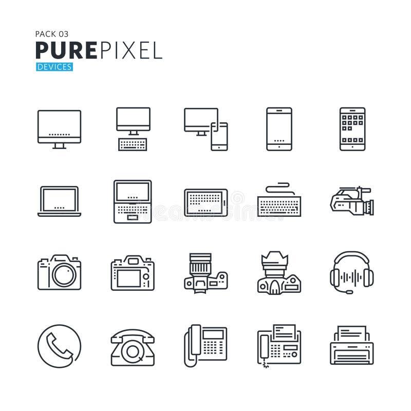 Uppsättning av den moderna tunna linjen perfekta symboler för PIXEL av elektroniska apparater stock illustrationer