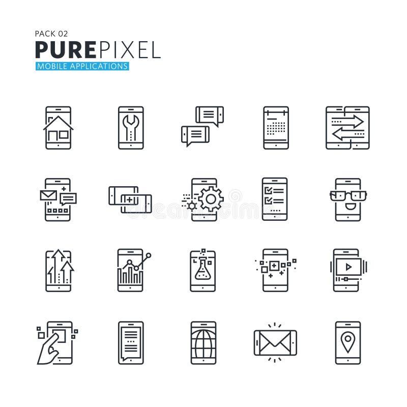 Uppsättning av den moderna tunna linjen perfekta symboler för PIXEL av mobila apps och service vektor illustrationer