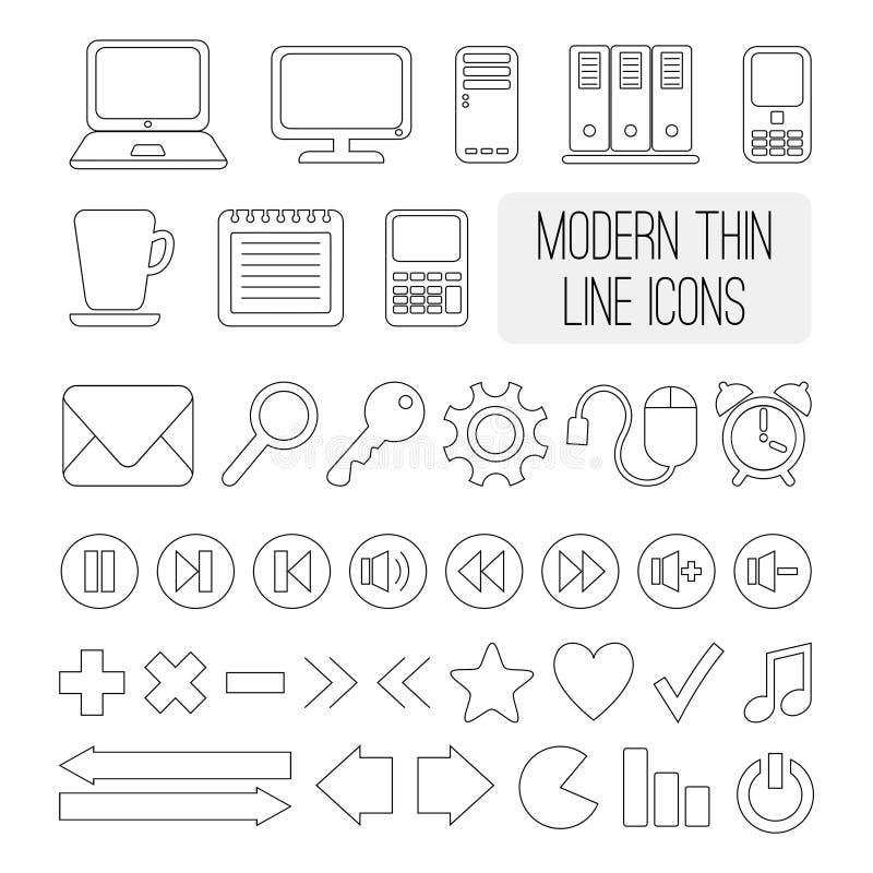 Uppsättning av den moderna tunna linjen symboler för rengöringsduken, vektor stock illustrationer