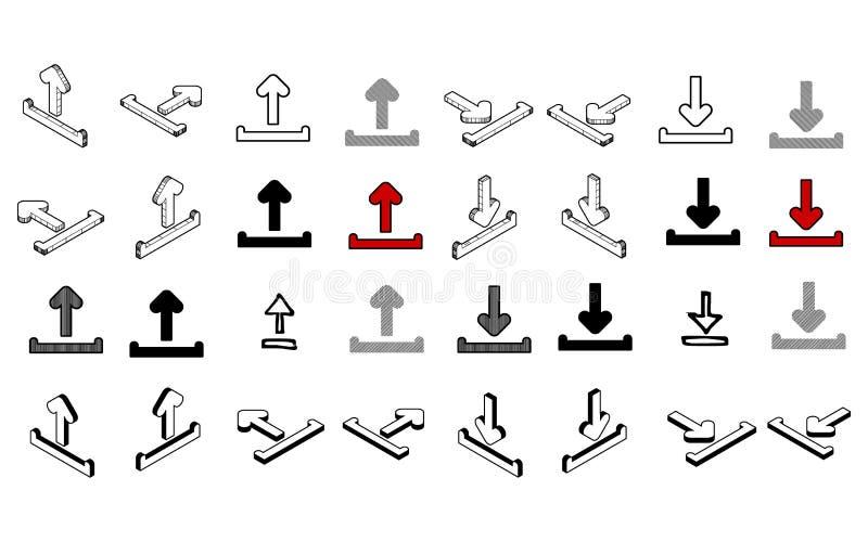 Uppsättning av den moderna vektorn för samling Ladda upp mång- typ för nedladdningsymbolen royaltyfri illustrationer