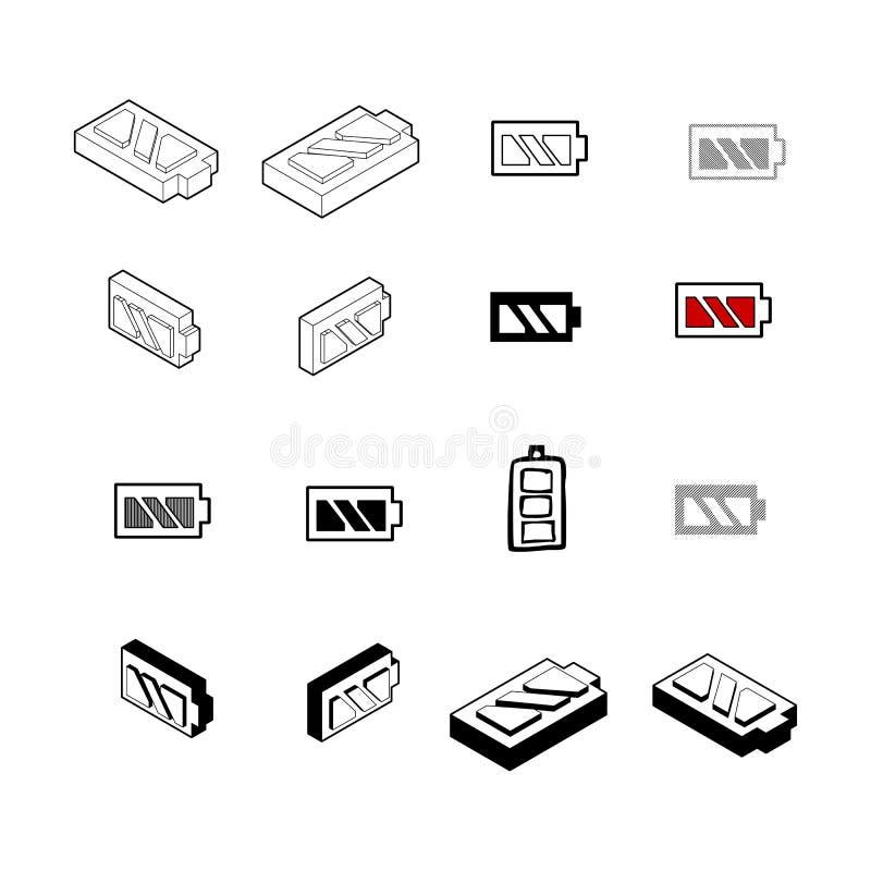 Uppsättning av den moderna vektorn för samling Mång- typ för batterisymbol av 3d I royaltyfri illustrationer
