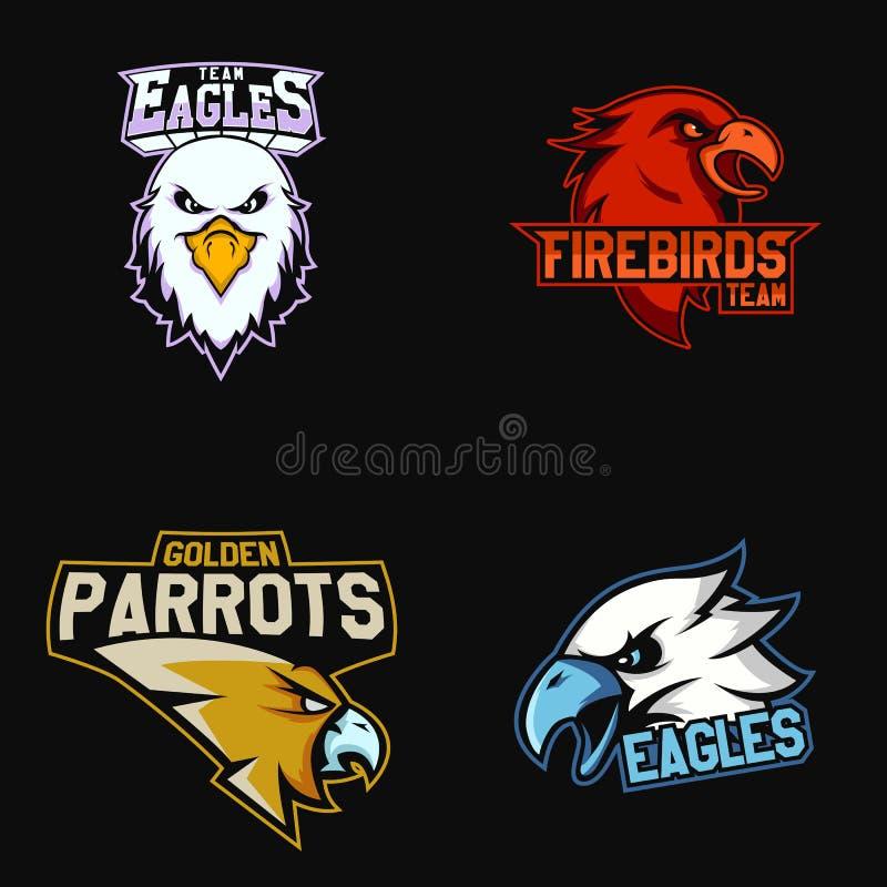 Uppsättning av den moderna yrkesmässiga logoen för sportlag Eagles firebirds, mekaniskt säga efter maskotvektorsymbol på en mörk  vektor illustrationer