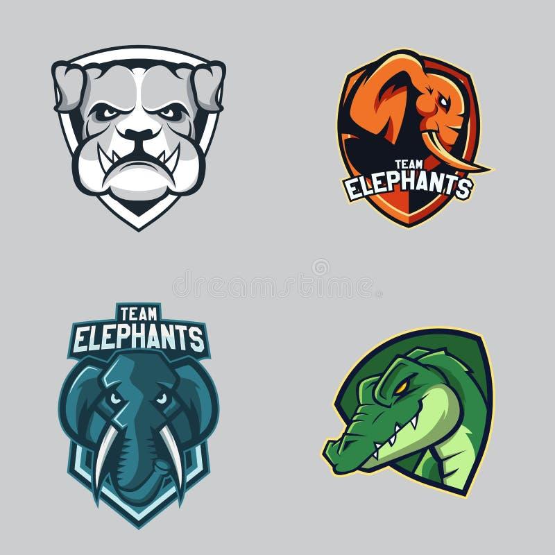 Uppsättning av den moderna yrkesmässiga logoen för sportlag Symbol för vektor för maskot för bulldoggelefantalligatorer på en mör stock illustrationer