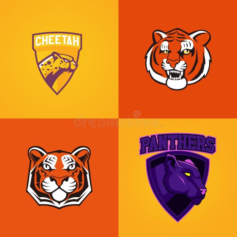 Uppsättning av den moderna yrkesmässiga logoen för sportlag Symbol för vektor för maskot för gepardtigerpanter på en mörk bakgrun vektor illustrationer