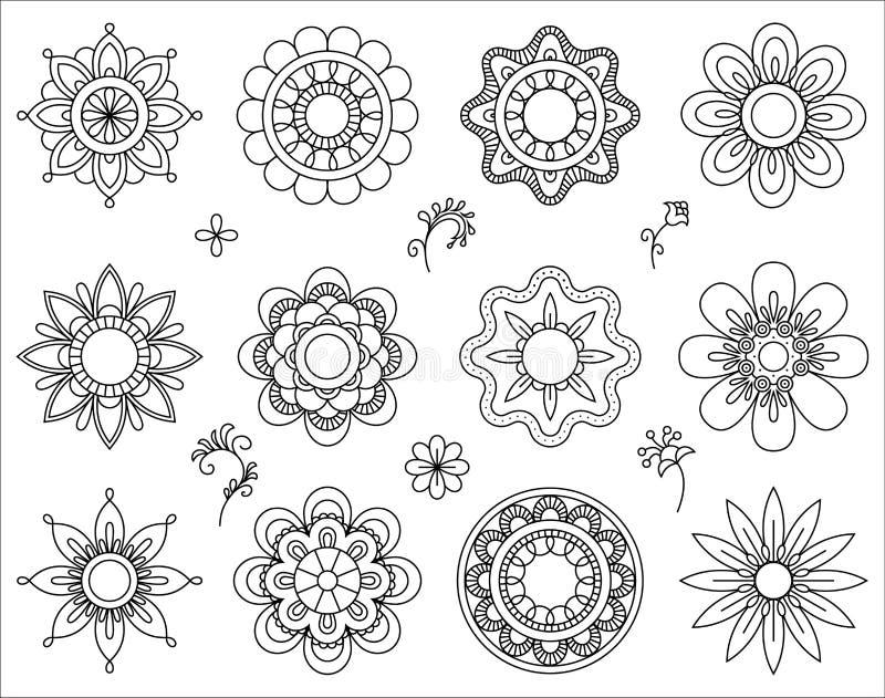 Uppsättning av den mono linjen symboler för blomma Tunn linje samling för blandningdesignbeståndsdelar Gulliga små blommor Enkel  stock illustrationer