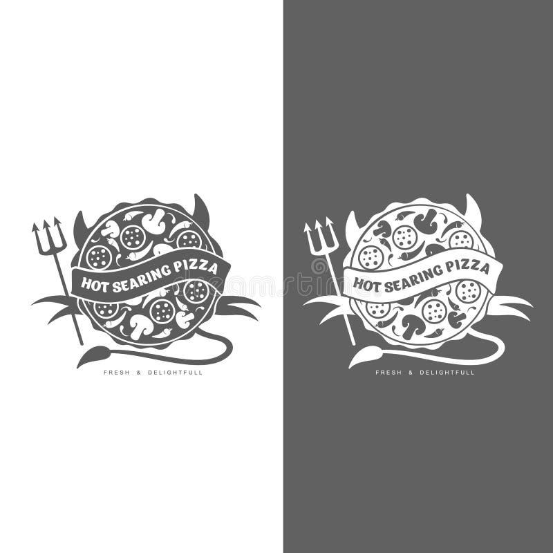 Uppsättning av den monokromma pizzalogoen stock illustrationer