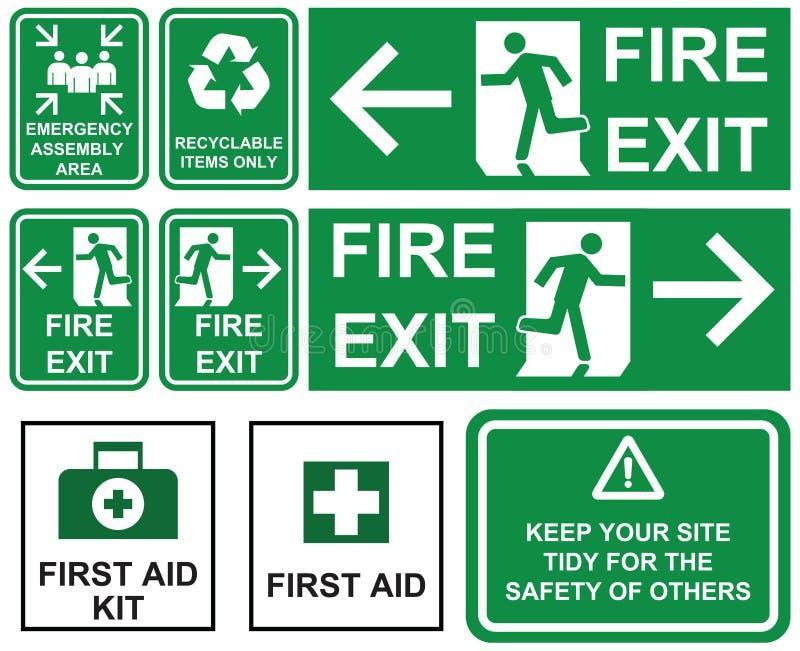 Uppsättning av den nöd- brandutgången, nöd- enhetsområde, första hjälpen, vektor illustrationer
