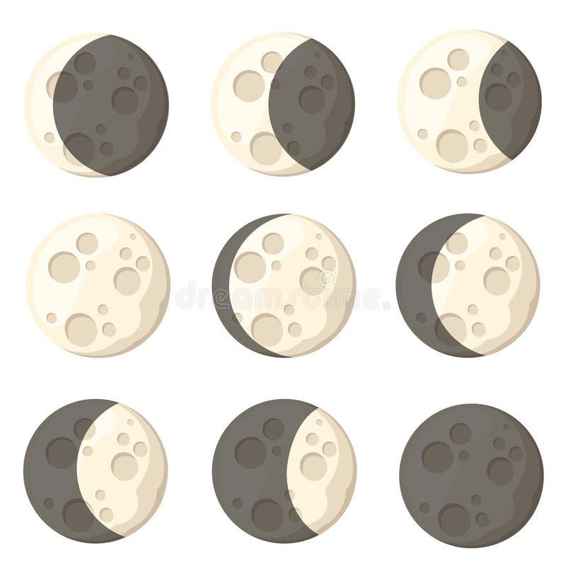Uppsättning av den naturliga satelliten för olikt objekt för månefasutrymme av jordvektorillustrationen som isoleras på den vita  arkivbild